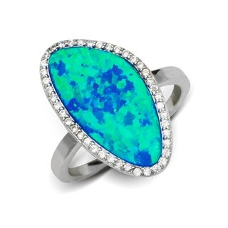 Sterling Silver Abstract Created Blue Opal and Cubic Zirconia Cocktail Ring