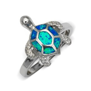Sterling Silver Inlaid Created Blue Opal Turtle Ring
