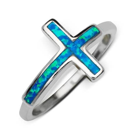 Sterling Silver Inlaid Created Blue Opal Sideways Cross Ring