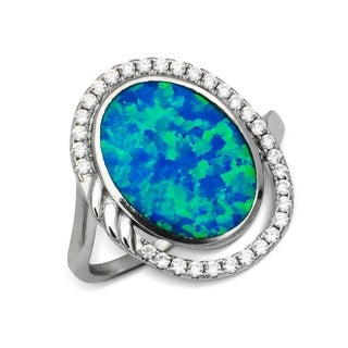 Sterling Silver Oval Created Blue Opal and Cubic Zirconia Cocktail Ring