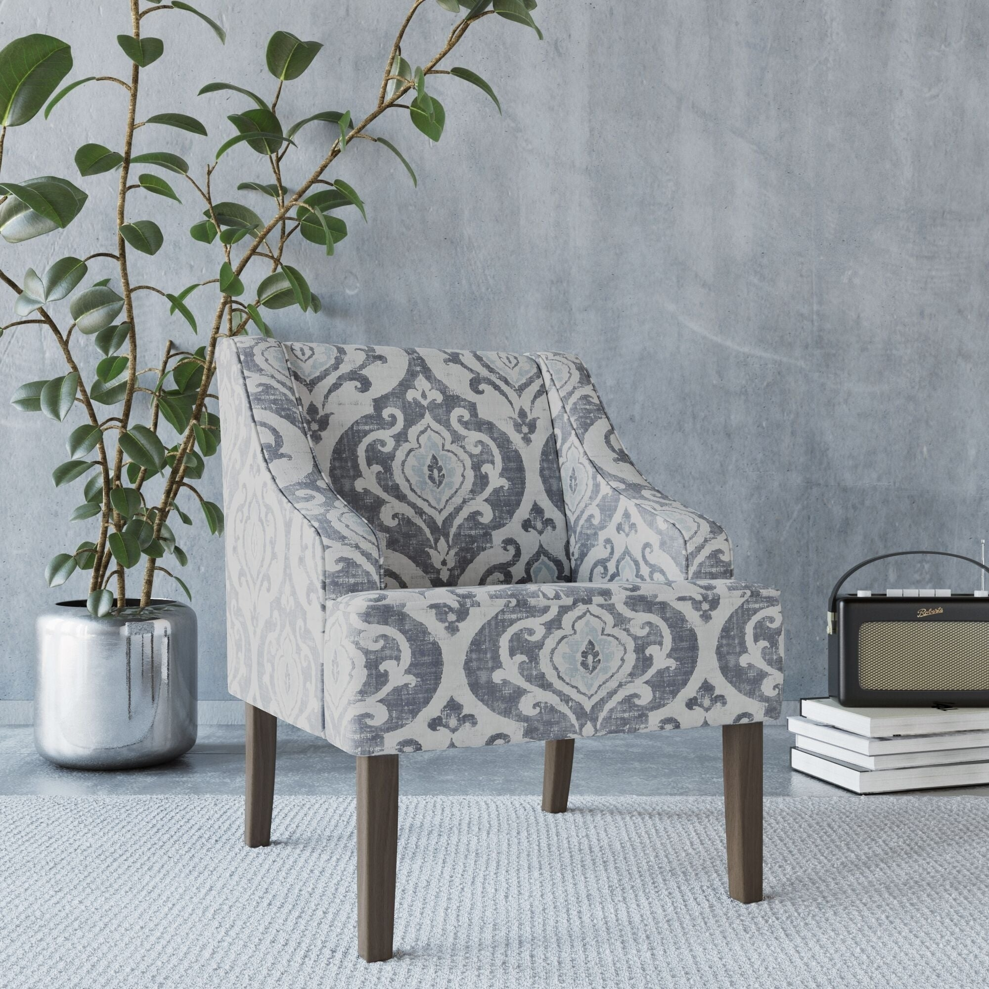 HomePop Classic Swoop Accent Chair   Suri Blue