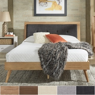 Sylvia Queen Size Mid-Century Tufted Linen and Wood Bed by iNSPIRE Q Modern
