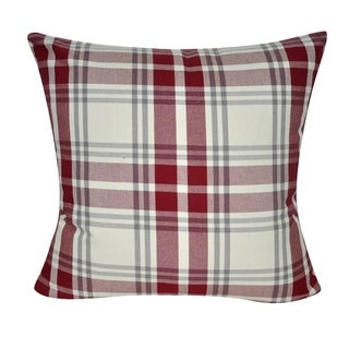 "Loom and Mill P0326-2222P 22"" x 22"" Red Plaid Decorative Pillow"