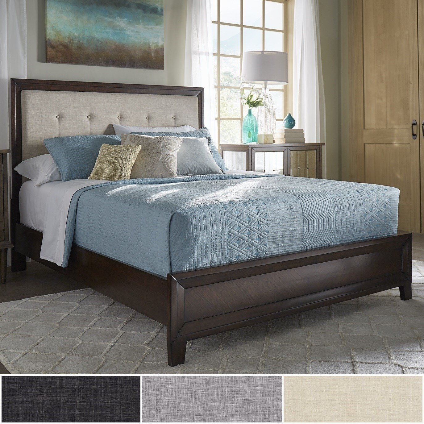 Maxwell Wood and Tufted Linen Bed by iNSPIRE Q Classic (Q...