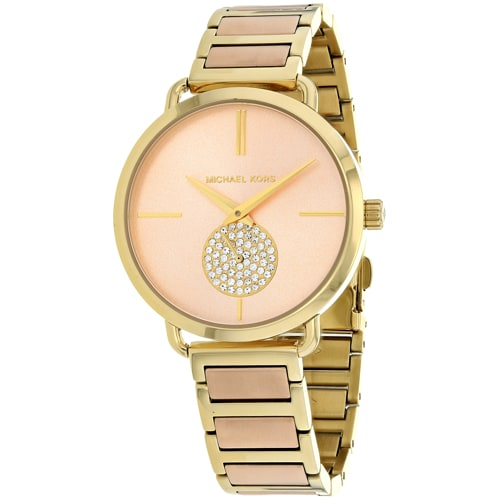 Michael Kors Womens MK3706 Portia Crystal Two-Tone Stainless Steel Watch - Pink Portia Rose Gold