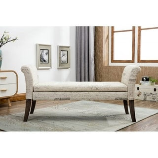 Upholstered Storage Bench with Decorative Writing Print