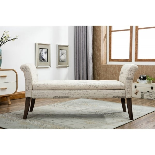 Best Quality Furniture Upholstered Storage Bench With Decorative Writing  Print
