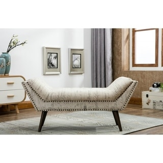 Upholstered Bench with Decorative Writing Print