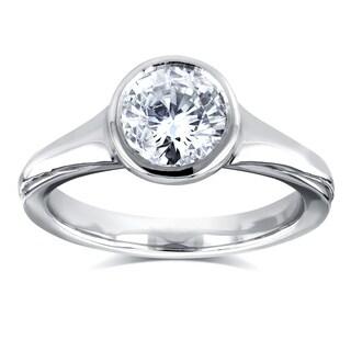 Annello by Kobelli 14k White Gold 1 Carat Diamond Round Solitaire Bezel Engagement Ring