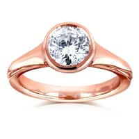 Annello by Kobelli 14k Rose Gold 1 Carat Diamond Round Solitaire Bezel Engagement Ring