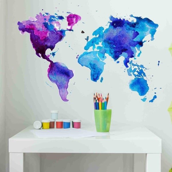 Shop watercolor world map wall decal sticker free shipping on watercolor world map wall decal sticker gumiabroncs Images