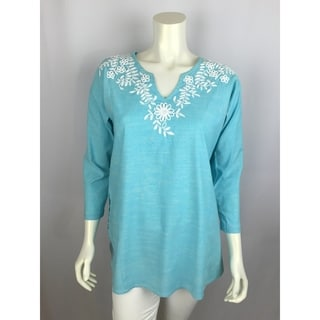 Aqua tunic with white floral hand-embroidery