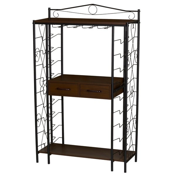 Household Essentials Wine Rack Shelf with Drawer