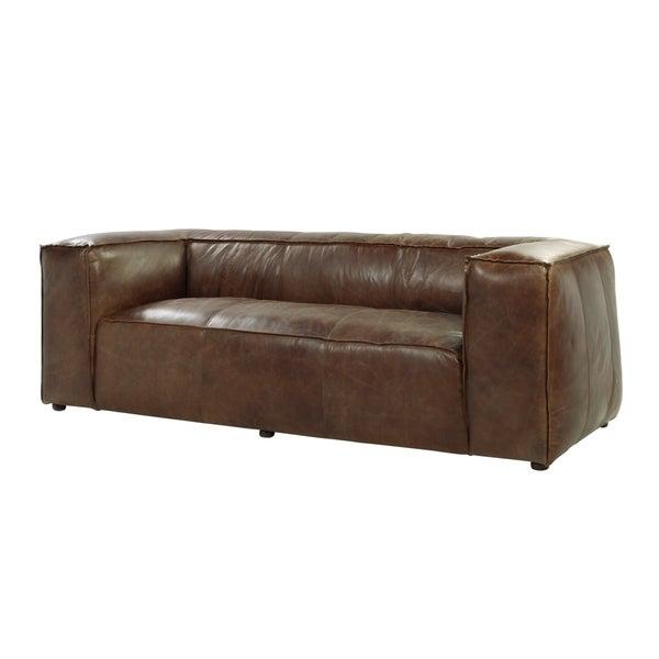 Acme Furniture Brancaster Top Grain Leather Sofa Retro Brown