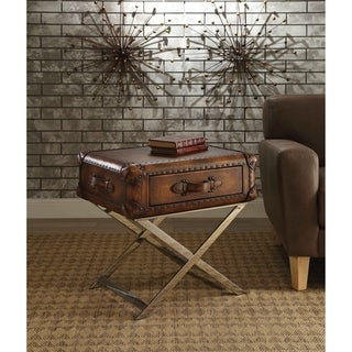 Acme Furniture Aberdeen Vintage Mocha Top-grain Leather End Table