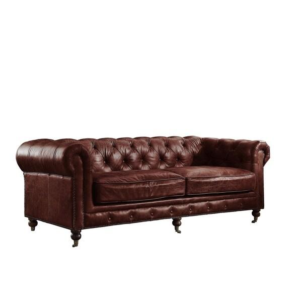 Acme Furniture Aberdeen Top Grain Leather Sofa, Vintage Dark Brown