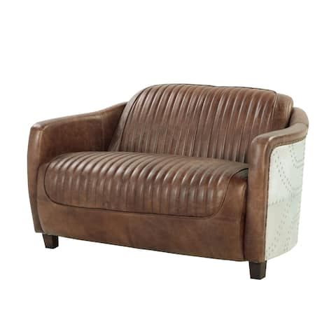 Acme Furniture Brancaster Top Grain Leather Loveseat, Retro Brown
