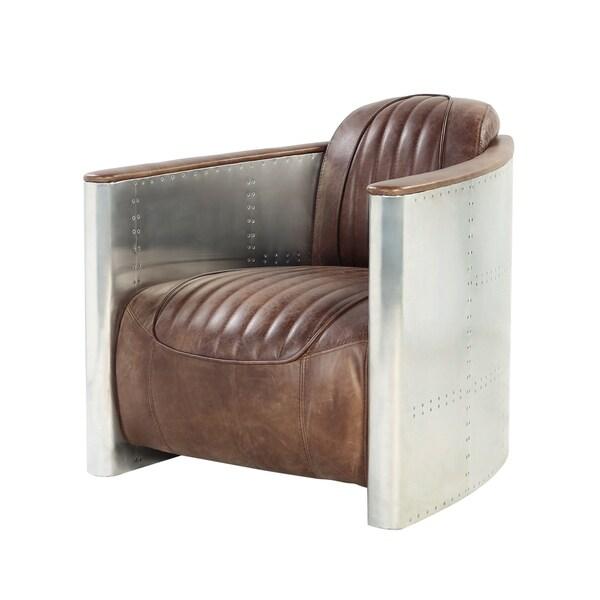 Acme Furniture Brancaster Top Grain Leather Arm Chair, Retro Brown