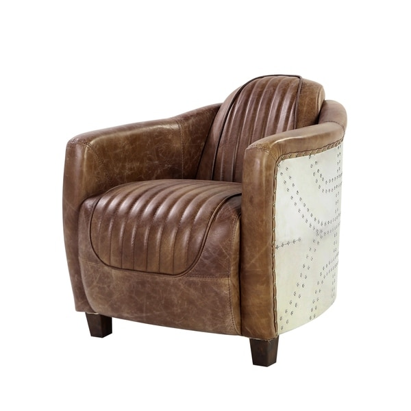 Acme Furniture Brancaster Top Grain Leather Arm Chair, Retro Brown