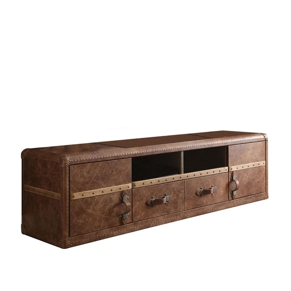 Acme Furniture Aberdeen Top Grain Leather TV Stand, Retro Brown. Opens flyout.