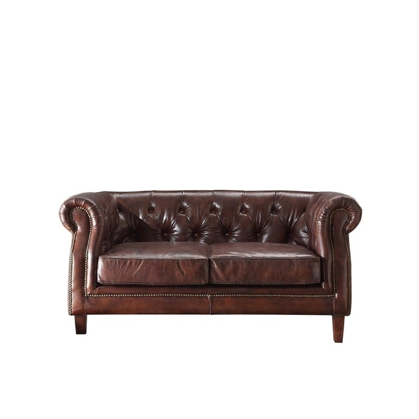 Acme Furniture Aberdeen Top Grain Leather Loveseat, Vintage Dark Brown