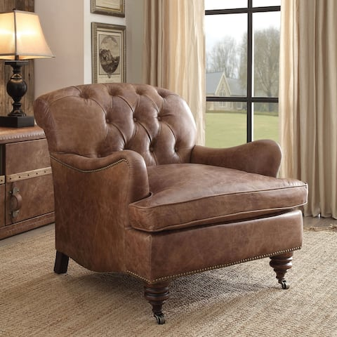 Acme Furniture Durham Top Grain Leather Accent Chair, Retro Brown