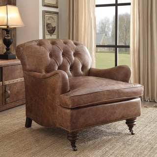 Acme Furniture Durham Top Grain Retro Brown Leather Accent Chair