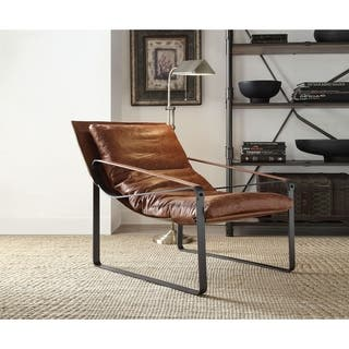 Acme Furniture Quoba Top Grain Leather Accent Chair Cocoa