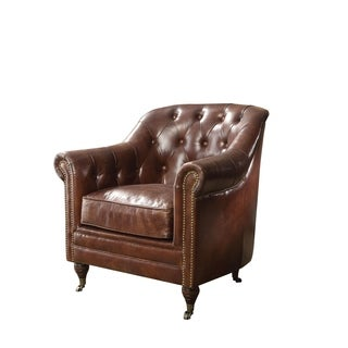 Acme Aberdeen Vintage Dark Brown Top Grain Leather Arm Chair