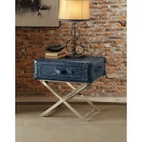Acme Furniture Aberdeen Vintage Blue Top Grain Leather End Table
