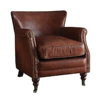 Acme Furniture Leed Top Grain Leather Accent Chair, Vintage Dark Brown