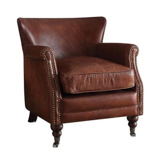 Merveilleux Acme Furniture Leed Top Grain Leather Accent Chair, Vintage Dark Brown