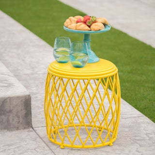 Alamera Outdoor 15-inch Lattice Side Table by Christopher Knight Home (Option: Yellow)