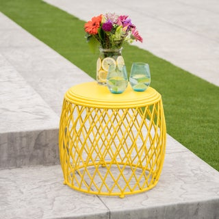 "Alamera Outdoor 19-inch Lattice Side Table by Christopher Knight Home - 17.75""W x 19.75""W x 19.75""D (Option: Yellow)"