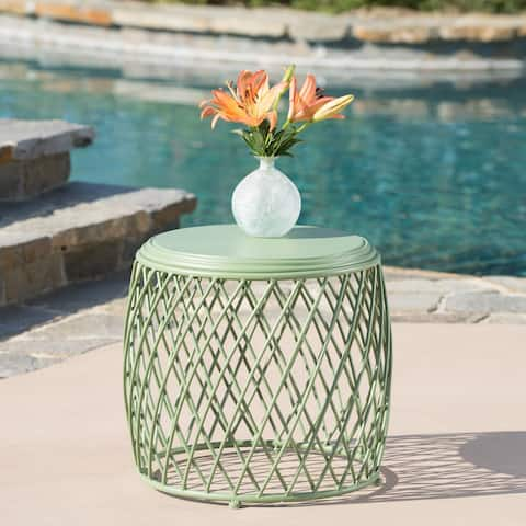 """Alamera Outdoor 19-inch Lattice Side Table by Christopher Knight Home - 17.75""""W x 19.75""""W x 19.75""""D"""