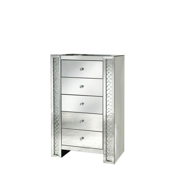 Acme Furniture Nysa Mirrored Cabinet with 5 Drawers