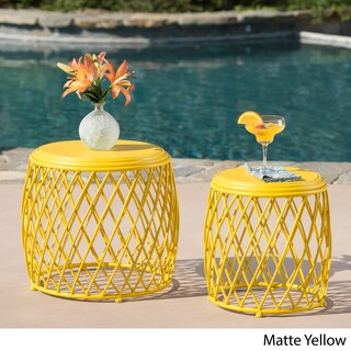 Alamera Outdoor 15-inch and 19-inch Lattice Nested Side Table Set by Christopher Knight Home (Option: Yellow)