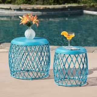 Alamera Outdoor 15-inch and 19-inch Lattice Nested Side Table Set by Christopher Knight Home