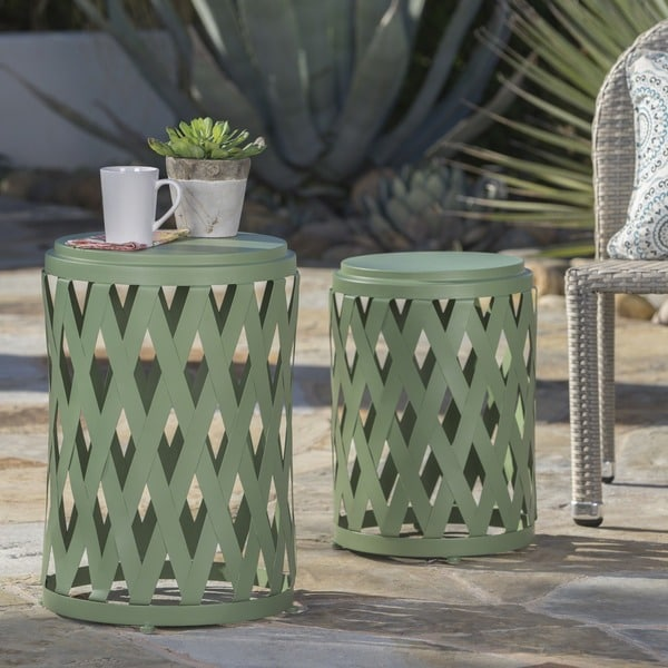 Selen Outdoor 12-inch and 14-inch Lattice Nested Side Table Set by Christopher Knight Home. Opens flyout.