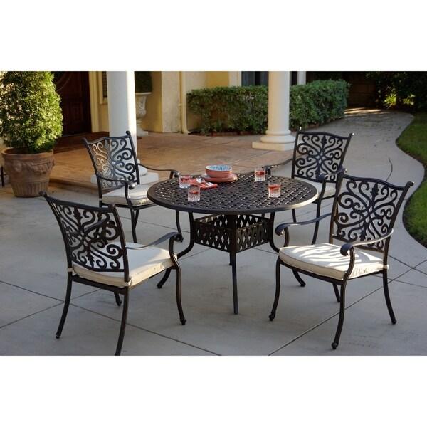 casablanca 5 piece dining set 48 inch round desert bronze free shipping today. Black Bedroom Furniture Sets. Home Design Ideas