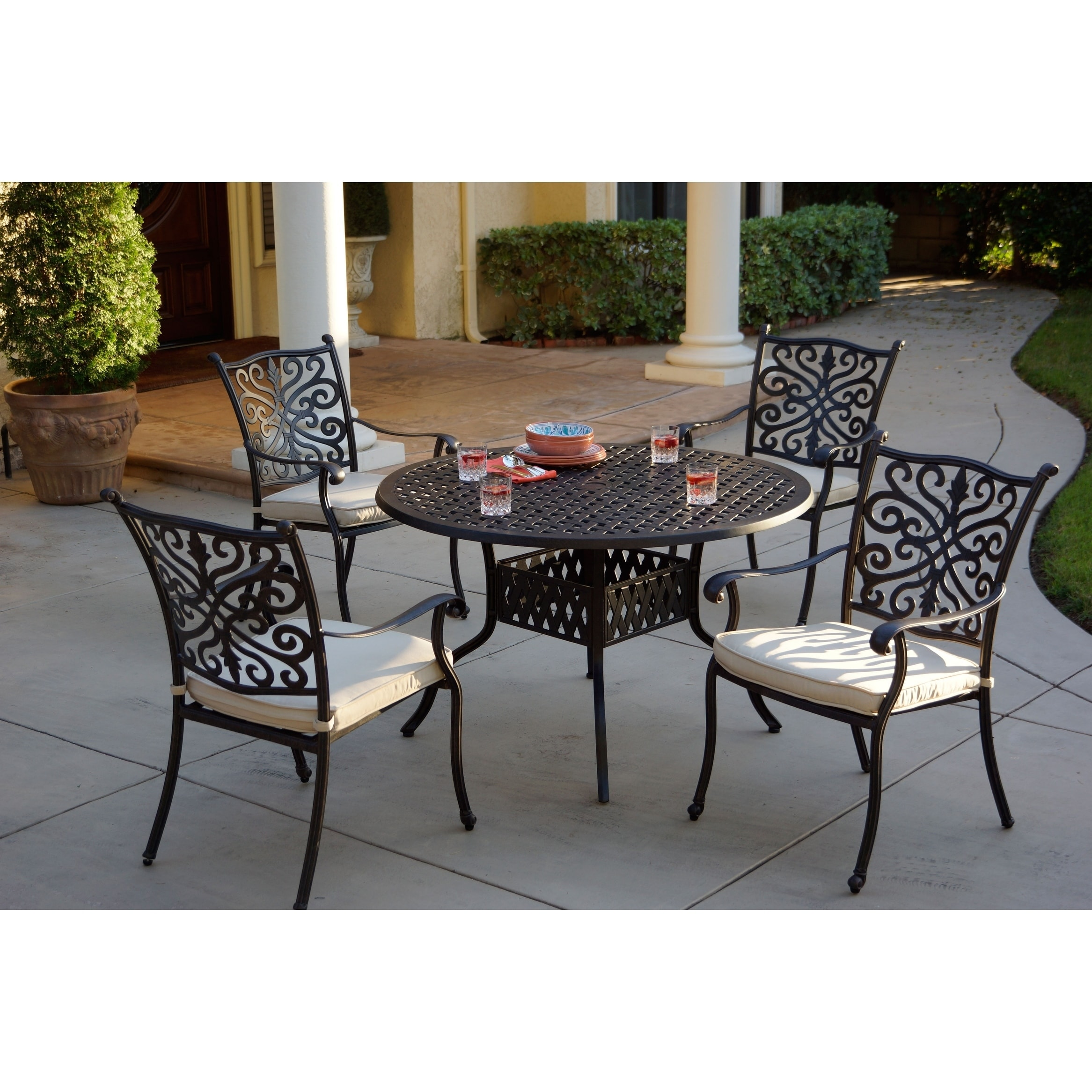 Casablanca 5-Piece Dining Set,48 Inch Round,Desert Bronze - Antique Bronze