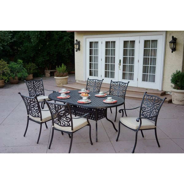 Casablanca Cast Aluminum 7 Piece Dining Set,42 X 72 Inch Oval,