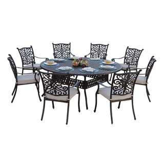 Casablanca 9-Piece Dining Set,72 Inch Round,Desert Bronze - Antique Bronze