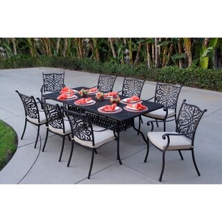 Casablanca Cast Aluminum 9-Piece Dining Set,42'' X 84'' Rectangular