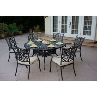Casablanca 7-Piece Dining Set60 Inch RoundDesert Bronze  sc 1 st  Overstock & Cast Aluminum 60\u0027\u0027 Round Patio Dining Table - Free Shipping On ...