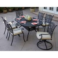 Casablanca 7-Piece Dining Set,42 X 72  Inch Oval,Desert Bronze - Antique Bronze