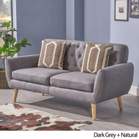 Bernice Mid Century Modern Pee Fabric Sofa By Christopher Knight Home