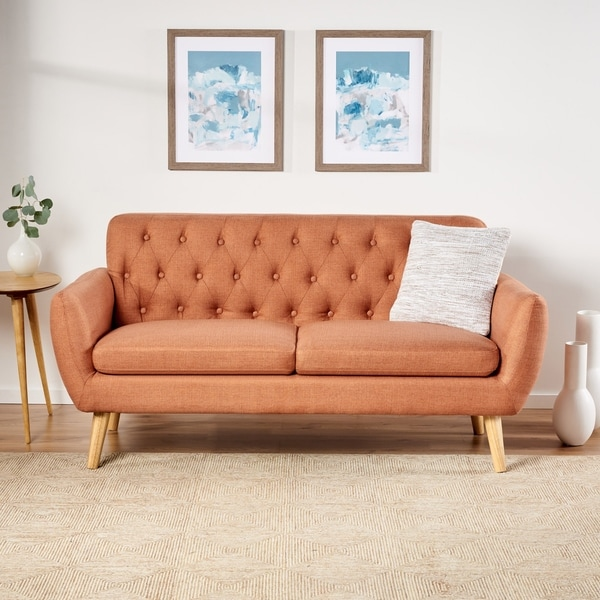 Bernice Mid Century Modern Petite Fabric Sofa by Christopher Knight Home. Opens flyout.