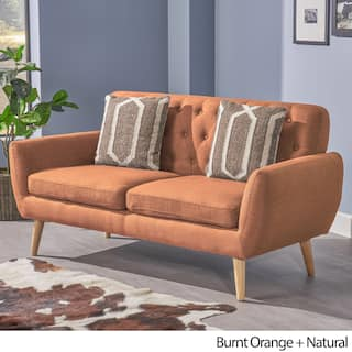 Bernice Mid Century Modern Pee Fabric Sofa By Christopher Knight Home
