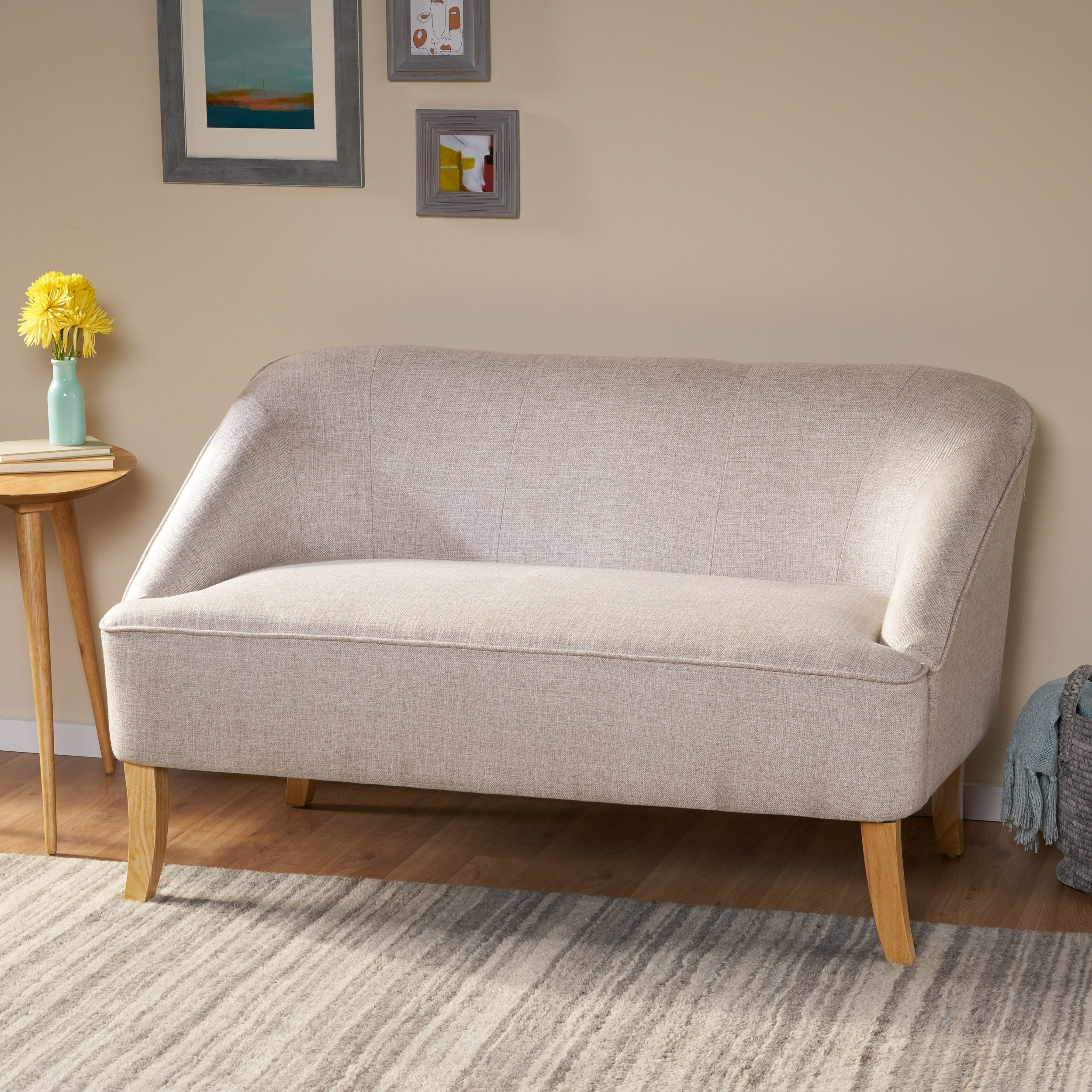 Shop Black Friday Deals On Justus Mid Century Modern Fabric Loveseat By Christopher Knight Home On Sale Overstock 17668855